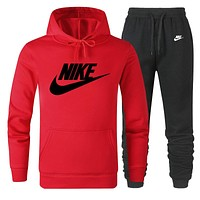 NIKE new tide brand casual men and women models wild sports suit two-piece Red