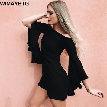 Mini Dresses Black Flare Sleeve Women Autumn Flare Sleeve Straight Goth Short Dresses Vintage Retro Fashion Gothics Mini Dress