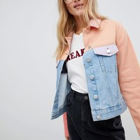ASOS Denim Jacket in Colourblock at asos.com
