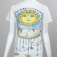 White Sun and Moon Print  Tee
