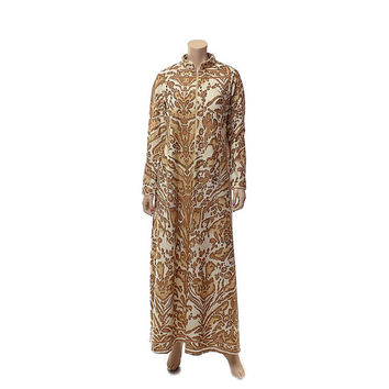 Vintage 70s David Brown Leopard Lounge Dress 1970s Hippie Lounger Boho Robe Abstract Animal Print Hostess Gown Caftan Loungewear / L