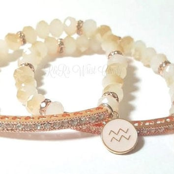 Personalized Zodiac Sign Beaded Bracelet,Rose Gold,Champagne, Beige,Crystal, Charm, Womens Bracelet, Custom, Handmade Beaded Jewelry