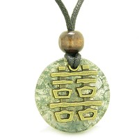 Double Happiness Feng Shui Amulet Fortune Powers Green Moss Agate Coin Medallion Pendant Necklace