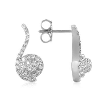 Forzieri Designer Earrings 0.68 ctw Diamond Pave 18K White Gold Earrings