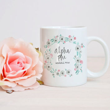 Alpha Phi Sorority Floral Mug Big Little Gift