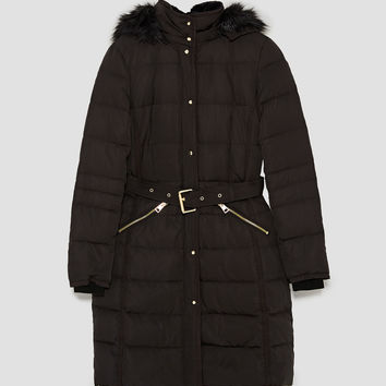 PUFFER COAT WITH BELT DETAILS