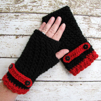 Red and Black Crocheted Fingerless Gloves, Red and Black Winter Gloves, Ladies Gloves, Teen Gloves