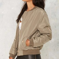Glamorous Take Games Bomber Jacket - Matte Green
