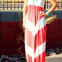 FUN IN THE SUN CORAL MAXI DRESS