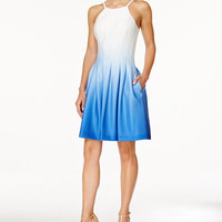 Calvin Klein Sleeveless Ombré Fit & Flare Dress - Dresses - Women - Macy's
