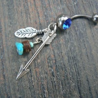 arrow and turquoise belly ring SILVER feathers arrow turquoise in native american tribal boho belly dancer tribal fusion and hipster style