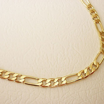 gold anklet, Figaro link anket, gold chain anklet, gold ankle, leg bracelet anklet, ankle bracelet, foot jewelry