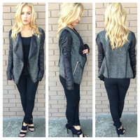 Charocal Grey Wool Moto Blazer Jacket