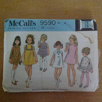 Vintage 1960s Girls' Dress Sewing Pattern McCall's 9590