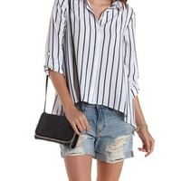 Combo Striped Open Back Button-Up Shirt by Charlotte Russe