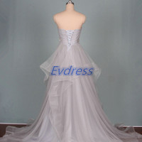 2015 long gray tulle prom dresses with crystals,latest inexpensive women gowns for party,cheap wedding dress on sale hot.