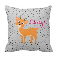Fun Festive Cute Cartoon Reindeer And Spots Pillows