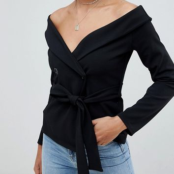 Missguided crepe bardot blazer blouse in black | ASOS
