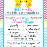 Gender Reveal Baby Shower Personalized Invitations
