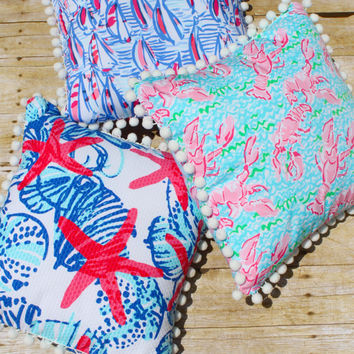 Custom Made Lilly Pulitzer Pillow With or Without Pom Poms