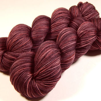 Hand Dyed Yarn - Sport Weight Superwash Merino Wool Yarn - Damson Plum - Knitting Yarn, Sock Yarn, Wool Yarn, Handdyed, Red Purple