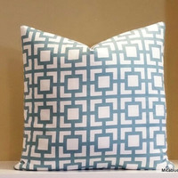 Decorative pillow cover, light blue and white pillow, 16x16, 18x18, 20x20, 22x22, 24x24