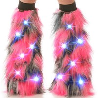 Light Up LED Pulsar Pink, Black and White Fluffies : Camo Pattern Fluffy Leg Warmers from Indyglo