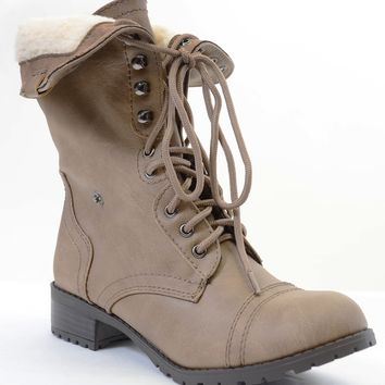 Shearling Fur Fold Over Combat Vegan Women's Boots