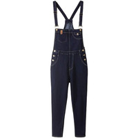 Deep Blue Patch Pocket Suspender Overalls