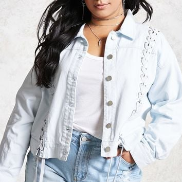 Plus Size Lace-Up Denim Jacket