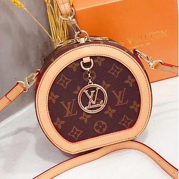 LV Bag Louis Vuitton new mini round cake bag Shoulder bag Coffee