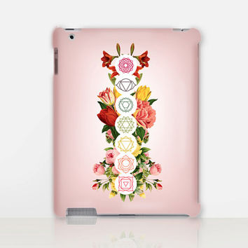 Floral Chakras Print iPad Case For - iPad 2, iPad 3, iPad 4 and iPad Mini, Fine Art Hard Case