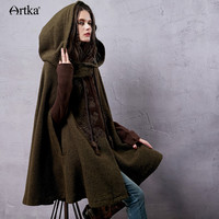 Artka Women's Winter New Vintage Warm Woolen Hoodie Cloak Coat Embroidered Drop-Shoulder Sleeve Wool Cape Outerwear WA10220D