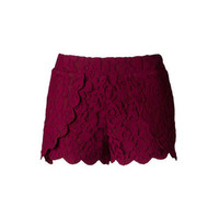 Hidden Motive Lace Shorts - Maroon - Hazel & Olive