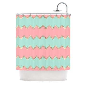"Monika Strigel ""Avalon Soft Coral and Mint Chevron"" Orange Green Shower Curtain"