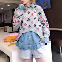 """Louis Vutitton"" Women Casual Fashion Multicolor Letter Long Sleeve Stitching Lapel Shirt False Set Two-Piece"