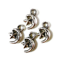 Silver Moon Charms 11x7mm Antique Silver Metal Crescent Moon Face and Star Small Celestial Charm Pendant Jewelry Making Findings 12pcs
