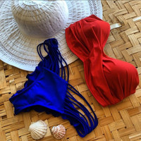 FASHION CONTRAST PLEATED CUTE TWIST LAYERED BIKINIS