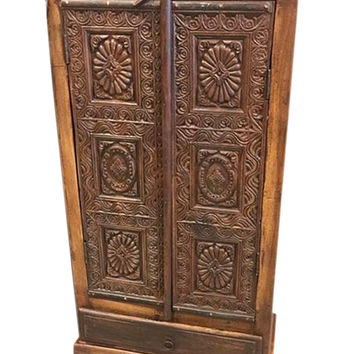 Antique Indian Chakra Hand Carved Cabinet Teak Rustic Armoire India Furniture