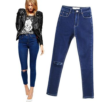 2016 New Arrival Skinny Jeans For Women Europen Style Slim Pencil Pants Knee Hole Design Jeans Women Plus Size Cowboy Pants
