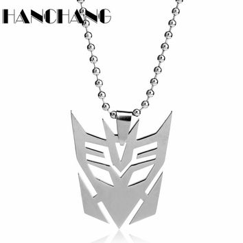 Unisex Jewelry Transformers Robot Mask Pendant Necklace Stainless Steel Transformation Necklaces Beads Chain Choker Necklace