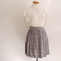 90s  ralph lauren plaid skirt - vintage high waisted houndstooth pleated mini skirt - xs / small