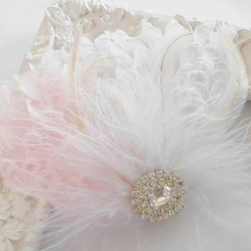 Wedding Feather Hairpiece, Feather Fascinator, Bridal Hairpiece, Ivory, Blush, Cream, White, Bridal Hair Clip,
