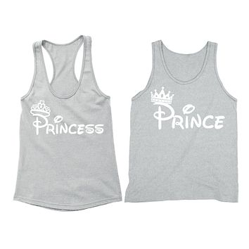 XtraFly Apparel Prince Princess Crown Valentine's Matching Couples Racer-back Tank-Top