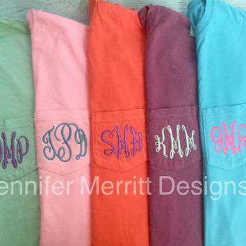 Monogrammed Tee, Comfort Colors Pocket Monogram, Comfort Colors Tshirt, Comfort Colors Pocket Tee Monogrammed, bridesmaid gift