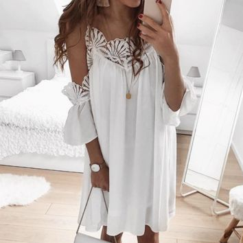 Sexy women's stitching lace off-the-shoulder strap dress white