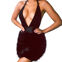 New 2016 Women Dress Halter Backless Party Dresses Sexy Club Bandage Dress Black Plus Size Women Clothing Vestido De Festa