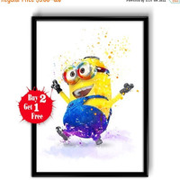 ON SALE 25% OFF Despicable Me watercolor painting Minion, Canvas print, Art Giclee Wall Decor, Nursery Decor, Kids Art, Children's Illustrat