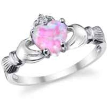 Sterling Silver 925 Irish Claddagh Friendship & Love Ring with Pink Simulated Opal Heart 7