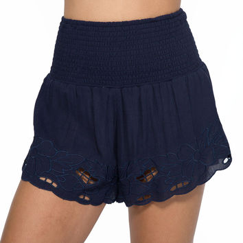 Delight Embroidered Shorts In Navy